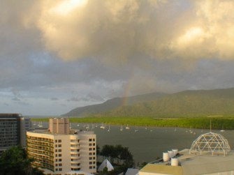 Magnificent sunset from the balcony of one of the many hotels in Cairns. Did you notice the rainbow?.