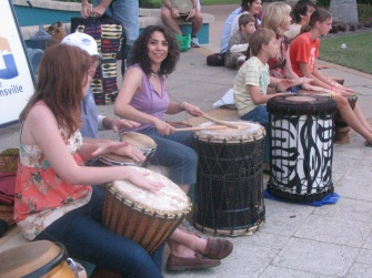 Maria in one of the Drum Circles organised in Townsville, Far North Queensland.