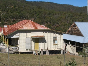 The houses at the old mining town, in Herberton, as they were in the pioneering times.