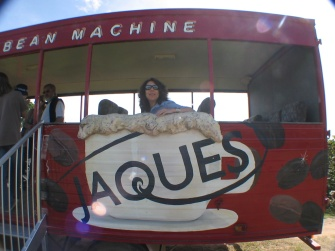 Maria, joining the coffee plantation tour from Jacques Capuccino Bean Machine bus.