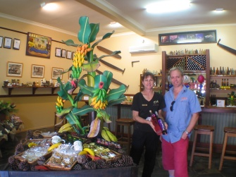 Steve with Sharon, Mount Uncle manager, at their beautiful shop in Mount Uncle Distillery, in Mareeba.