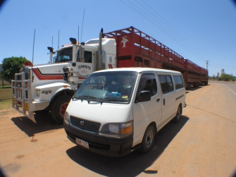 The roads of the outback in Far North Queensland are home to road trains such as this.