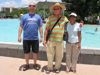The three of them in front of Cairns Lagoon.