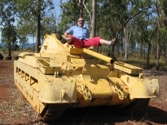 Steve on a tank, at the War Museum, in Mareeba.