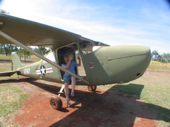 Maria flying a warbird, at the Warbird Museum, in Mareeba.