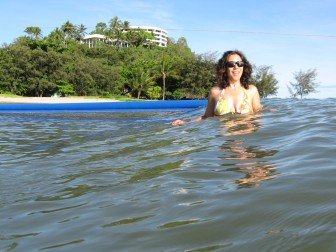 Maria enjoying an early morning swim at Yorkey's Knob, on the Cairns Beaches