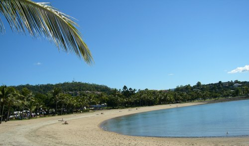 Relaxing at Airlie Beach, with views out to the Whitsunday Islands.