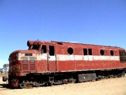 Viejo carruaje del famoso tren The Ghan, en Alice Springs.