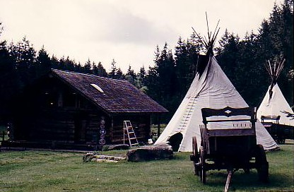 Accommodations in Indian teepees or a log cabin, on Vashon Island