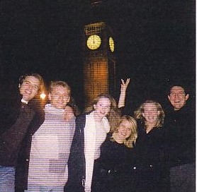celebrating New Years Eve at Big Ben with some strange females
