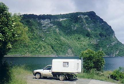Duncan's campervan, with Panekiri Bluff in the background. Panekiri hut was at the peak of that bluff.