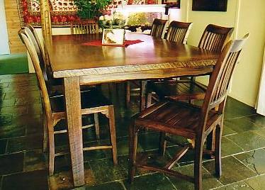 Rustic style eight seater table, built from Blackbutt, australian hardwood.