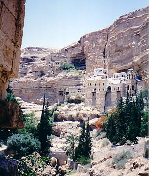 St Catherine's monastery, built into the cliffside in the middle of nowhere