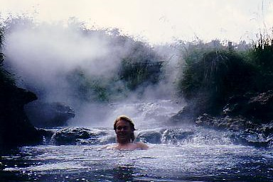 Enjoying a dip in a hot stream that flows into the Waikato River, just north of Taupo