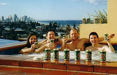 Relaxing in a spa at Surfers Paradise on the Gold Coast with Simon, Danny and Matt, three of my old workmates in London