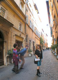 Nora, Paolo and Maria in one of the thousands of charming Roman backstreets.