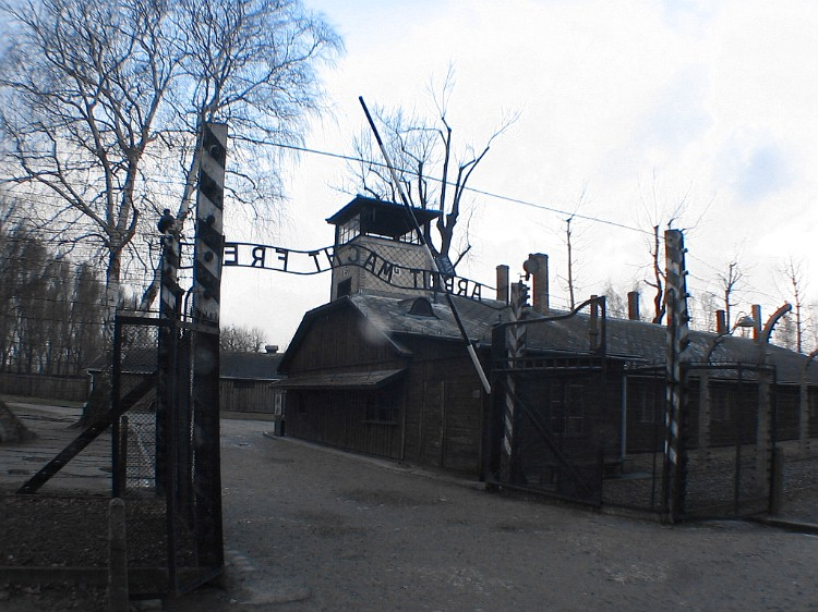 The entrance to Auschwitz concentration camp- the motto in German means 'work brings freedom'.