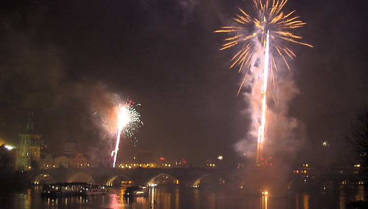 Fireworks over the Charles Bridge.