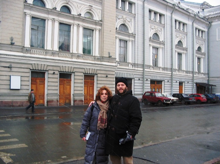 Maria and me in front of the Conservatory of Music, St Petersburg.