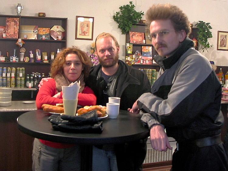 Maria, myself and Alexey filling up on tasty Russian Piroshki.