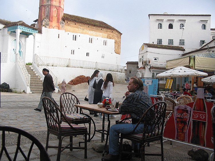 My first Moroccan cous-cous, overlooking the mosque in the central square of Chefchaouen.