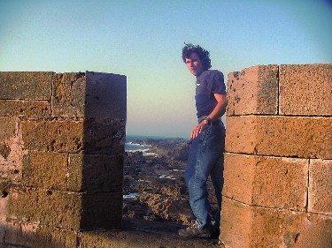Mike, getting blown away on the ramparts in Essouira.