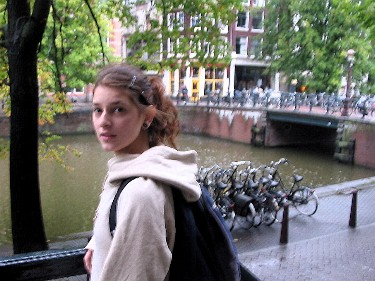 Jara, outside her apartment in central Amsterdam