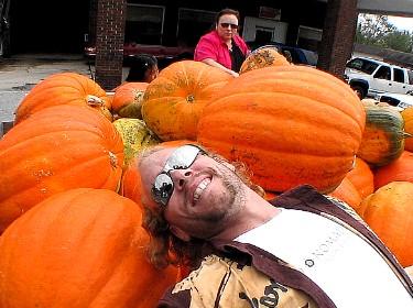 Pumpkins, street fair in Carthage, Tennessee.
