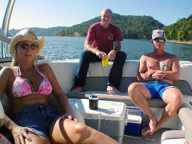 lolling on the lake- Kristie, Glenn and Stacy
