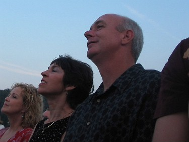 Glenn and Shirley watching an eagle circling during the wedding ceremony.