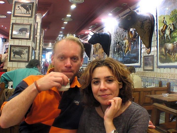 Maria and me, taking a break from the sightseeing with a cup of coffee in a bullfighters cafe, Madrid.