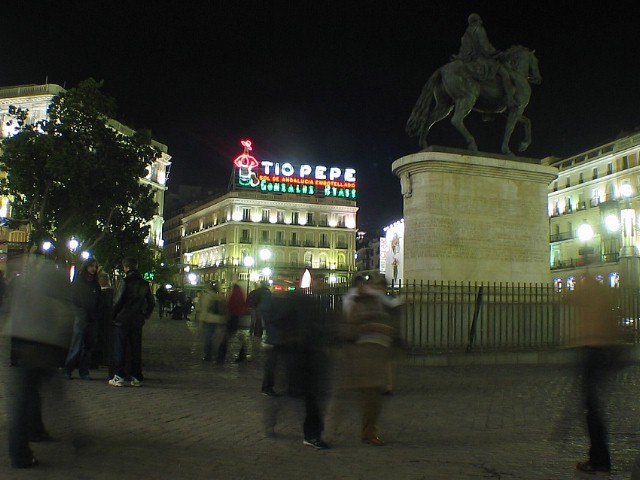 Puerta del Sol, the centre of Madrid, just a short walk from our apartment.