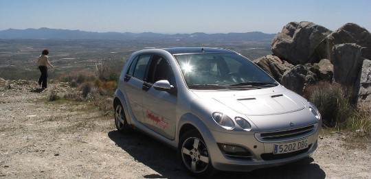 Our Smart car, overlooking the plains of Andalucia.