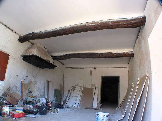 The completed ceiling of the second kitchen, which doubled as my workshop.