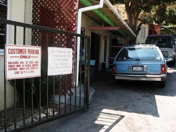 Locked gates and carpark.
