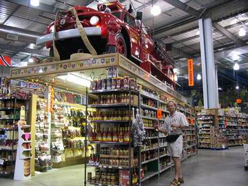 A fire engine stands guard over the one thousand varieties of hot sauce.