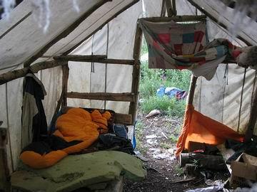 Junior's home-made tent.