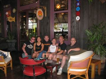 Steve and James from Newcastle, England, Danny from Memphis, two of the friendly Flying Saucer waitresses, and myself.