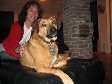 Heather with one of her dogs; Hunter I recollect.