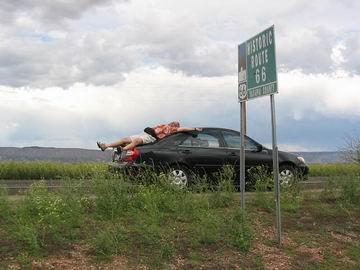 Taking a break on Route 66.