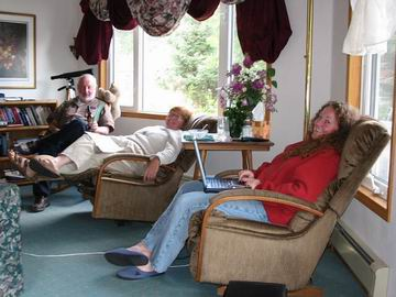 Tara, Judy and Howard relaxing in the lounge at Mile Zero.