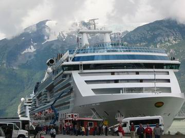 Cruise ships in the harbour, with Harding Glacier in the background.