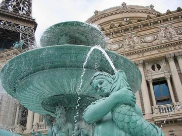 Fountain in front of the Paris casino.