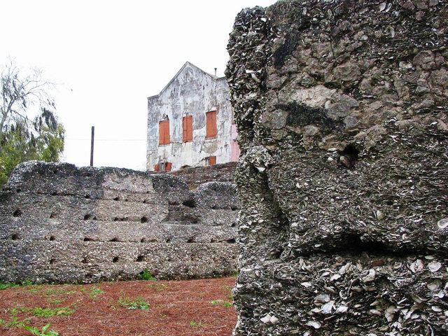 Remains of old buildings made of seashells, Darien.