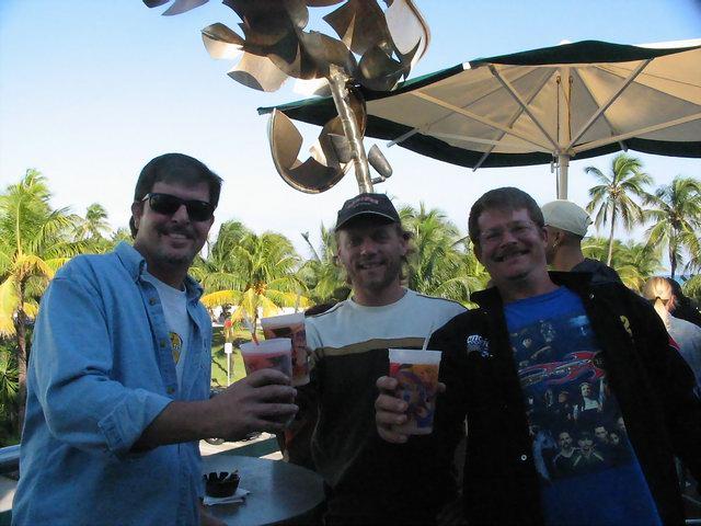 Steve, Steve and Matt on the balcony of Wet Willy's on Ocean Drive, South Miami Beach.