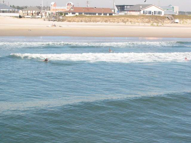 Looking back at Topsail Island beach from the pier.