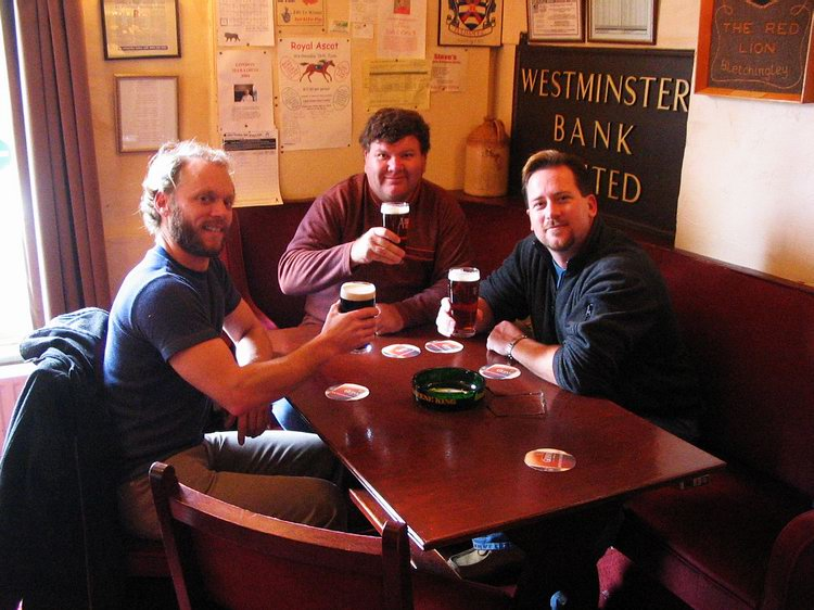Looking very civilized as we share our first beer, at the Red Lion pub.