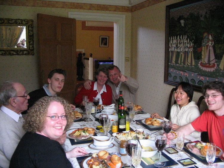The family. I was invited to share Mother's Day Lunch with my boss' family. Roast beef with Yorkshire puddings. Yum!