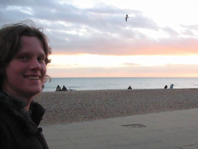 Becky on the beach. Watch out for that seagull.