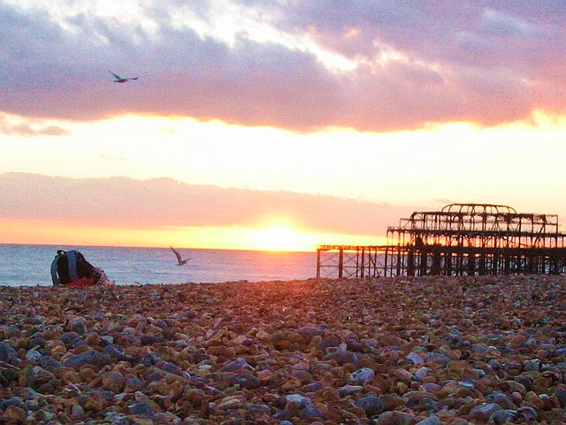 The old pier, which even since being cut off from the shore, has mysteriously caught fire...twice!